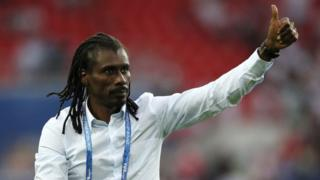 Aliou Cisse, Head coach of Senegal celebrates after the 2018 FIFA World Cup Russia group H match between Poland and Senegal at Spartak Stadium on June 19, 2018 in Moscow, Russia.