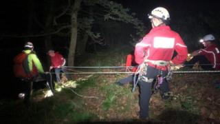 Brecon MRT at work rescuing the man
