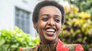 Diane Rwigara, a critic of Rwanda's President, reacts as she speaks during an interview with AFP at her home in Kigali, after her recent release on bail by the High Court, on November 2, 2018