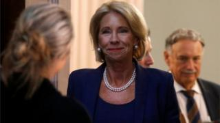 US Education Secretary Betsy DeVos walking