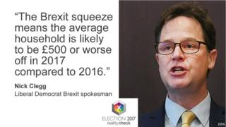 Nick Clegg saying: The Brexit squeeze means the average household is likely to be £500 or worse off in 2017 compared to 2016