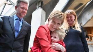 First Minister Nicola Sturgeon with the Brain family