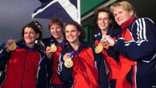 Rhona Martin and Olympic team-mates