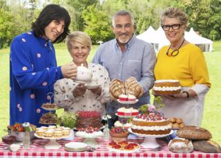 Noel Fielding, Sandi Toksvig, Paul Hollywood and Prue Leith