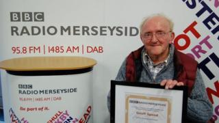 Geoff Speed with Radio Merseyside certificate
