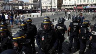 Police clash with football fans in Marseille