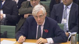 Mr Straw giving evidence to the Northern Ireland Affairs Committee.