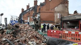 Aftermath of Hinckley Road shop blast