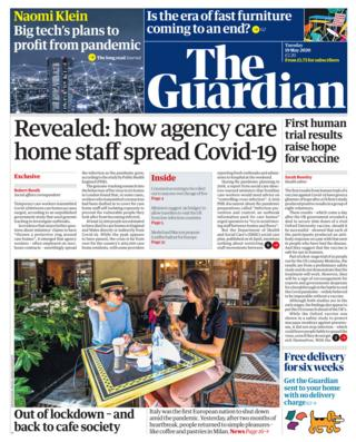 The Guardian front page 19/05/20
