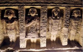The ancient Egyptians often carved sculptures into the walls of tombs and temples