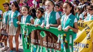 US Girl Scouts in parade