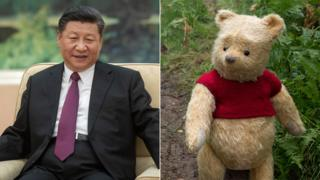 L to R: Xi Jinping and Winnie the Pooh