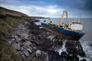 The abandoned ghost ship Alta stuck on the rocks of the Irish coast