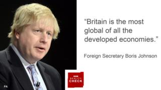 Boris Johnson saying: Britain is the most global of all the developed economies