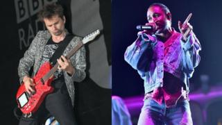 Matt Bellamy and Kendrick Lamar on stage performing