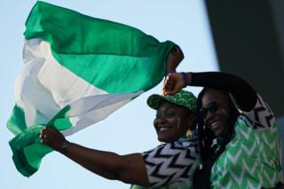 Nigerian supporters cheer their team ahead of the 2019 Women's World Cup Group A football match between Norway and Nigeria, on 8 June 2019, in France.