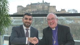 IFC advisory board member Omar Shaikh and Right Rev Dr Angus Morrison