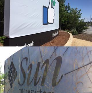 Facebook banner and Sun Microsystems logo