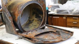 The fire damaged appliance was examined in a specialist laboratory.