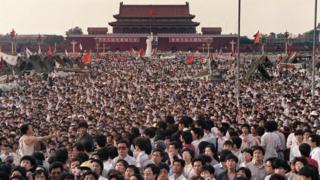 Manifestantes en la Plaza de Tiananmen en 1989