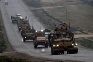 کاروان نیروهای آمریکایی در شمال سوریه