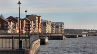 New housing on Barry waterfront, south Wales