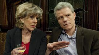 Andrew Hall with Sue Nicholls aka Audrey Roberts in Coronation Street