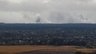 An explosion at an ammo dump in Ukraine, October 2018