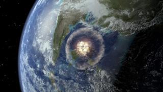 Астероид врезается в Землю. Иллюстрация