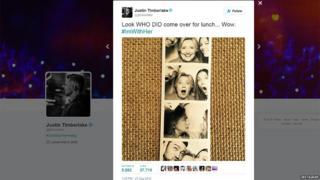 Fotos tomadas en un fotomatón en las que aparecen Justin Timberlake, Hilary Clinton y Jessica Biel.