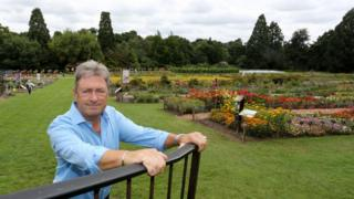 Alan Titchmarsh at RHS Wisley with the trees in the background