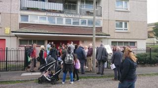 Muirhouse tenants at a protest about living conditions