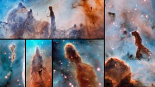 Imagens dos pilares de nuvem de poeira e gás