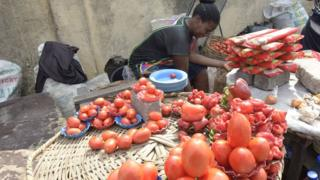 Tomatoes for sale in the Obalende district of Lagos. 25 May 2015