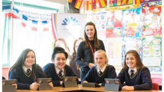 Pupils on the MFL project