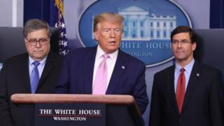 William Barr, Donald Trump y Mark Esper