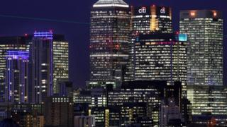Canary Wharf skyline at night