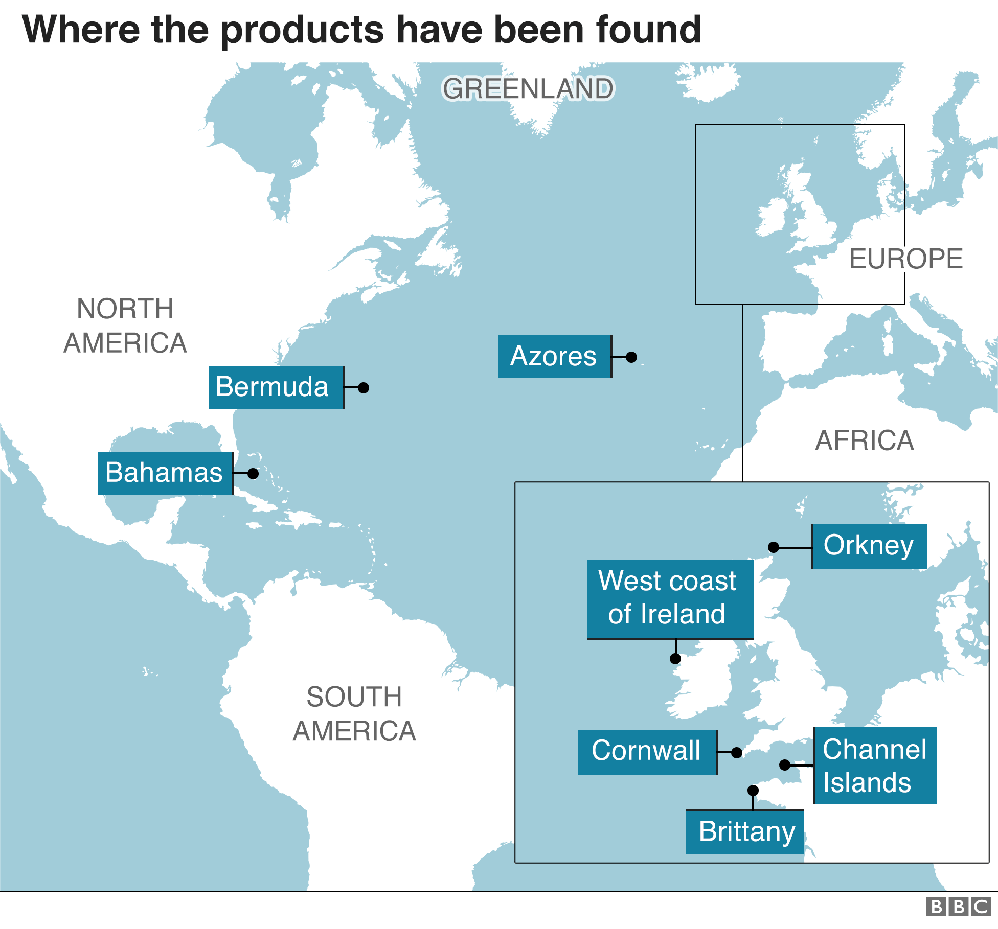 Map showing where the products have been found.