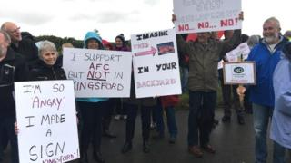Protest at planned stadium site