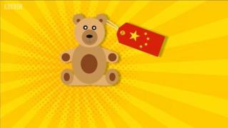 กราฟิกรูปหมีติดป้ายธงชาติจีน