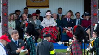 Queen and royal family at Braemar Gathering