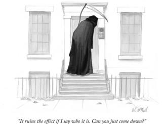 A cartoon of the Grim Reaper asking someone to come down from the buzzer of apartments