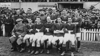 The Wales football team in Cardiff in 1921 before their match with England