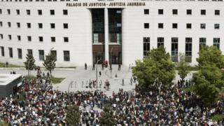 Protesta frente al Palacio de Justicia