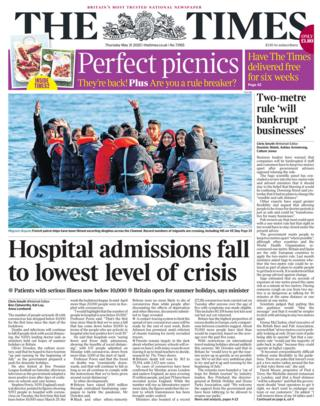 The Times front page 21/05/20