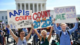 Demonstrators rally at the US Supreme Court in Washington, DC, on April 23, 2019, to protest a proposal to add a citizenship question in the 2020 Census