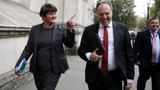 Arlene Foster and Nigel Dodds leaving Downing Street after meeting the prime minister on Tuesday