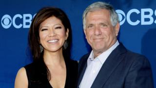 Les Moonves (R) and his wife Julie Chen