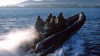 Royal Marine Commandos on patrol on Carlingford Lough which separates Northern Ireland from the Republic of Ireland