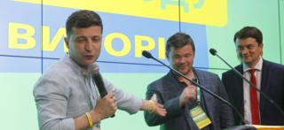 President Zelensky (L) with Servant of the People party allies, 21 Jul 19